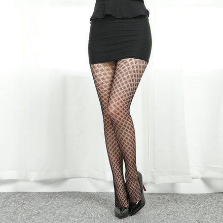 Aurablend MELISSA Ancient Greek pattern fishnet pantyhose
