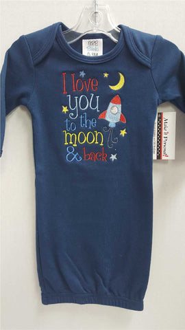 Navy Baby Gown - to the moon & back