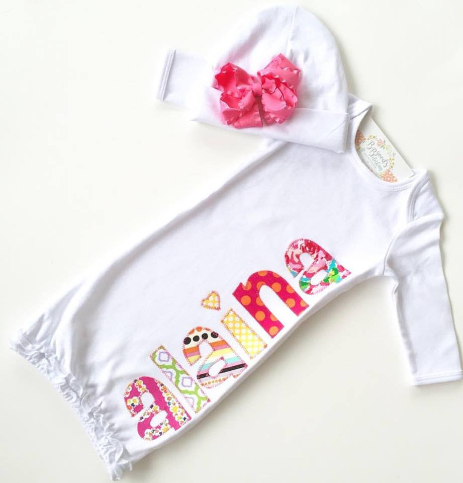 Applique Baby Girl Gown – Make it Personal! Embroidery, Monogramming ...
