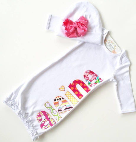 Applique Baby Girl Gown