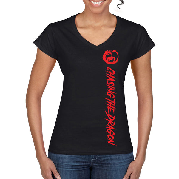 Chasing Dragon V-Neck T-Shirt for Girls