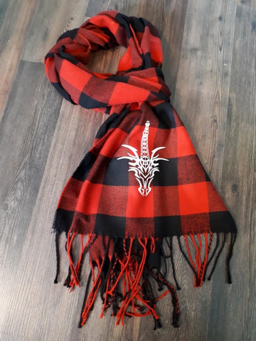CTD CLASSIC LOGO RED PLAID SCARF