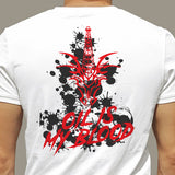 "CTD ""Oil Is My Blood"" Red-on-Black Graphic on White T-Shirt"