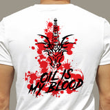 "CTD ""Oil Is My Blood"" Black-on-Red Graphic on White T-Shirt"