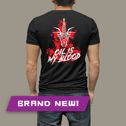 "CTD ""Oil Is My Blood"" White-on-Red Graphic on Black T-Shirt"
