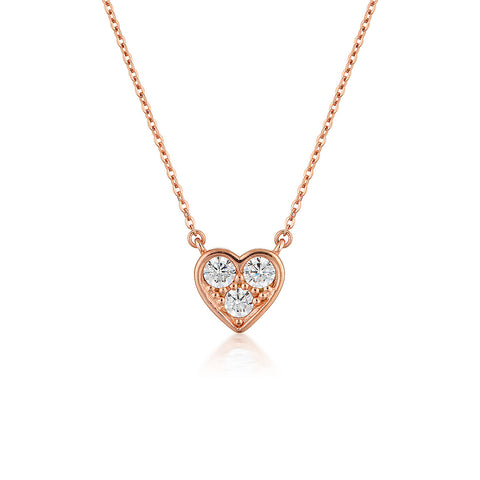 WHITE CZ ROSE GOLD 20MILS PENDANT WITH CHAIN 225 4DC 41CM+5CM (EXT) + LOGO TAG