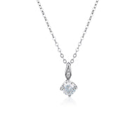 WHITE CZ RHODIUM 3MILS PENDANT WITH CHAIN 230SF 41CM+5CM(EXT)