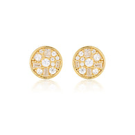 MINI MOSAIC GOLD STUD EARRINGS