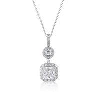 WHITE CZ RHODIUM 3MILS PENDANT WITH CHAIN 225S 41CM+5CM (EXT)