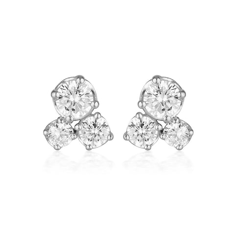 WHITE CZ RHODIUM 3MILS EARRING
