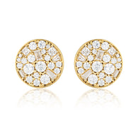 MOSAIC DISC GOLD STUD EARRING