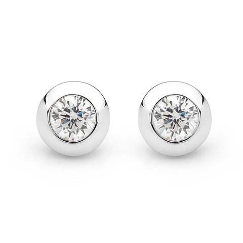 WHITE CZ HIGH SHINE STUD EARRING