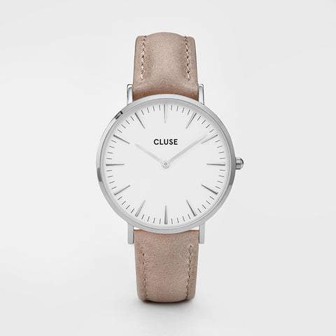CLUSE LA BOHEME SILVER WHITE/HAZELNUT WATCH