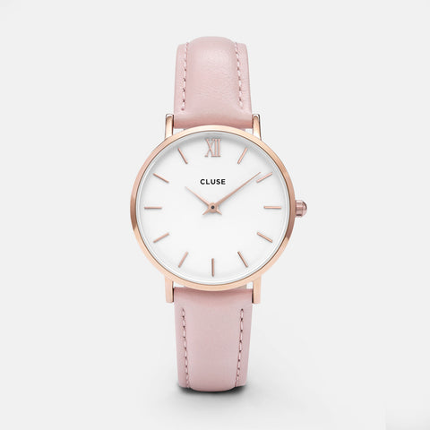 MINUIT ROSE GOLD/WHITE/PINK LEATHER STRAP