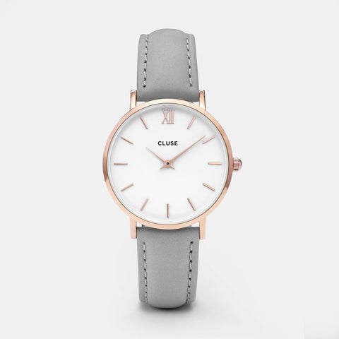 CLUSE MINUIT ROS GOLD WHITE/GREY WATCH