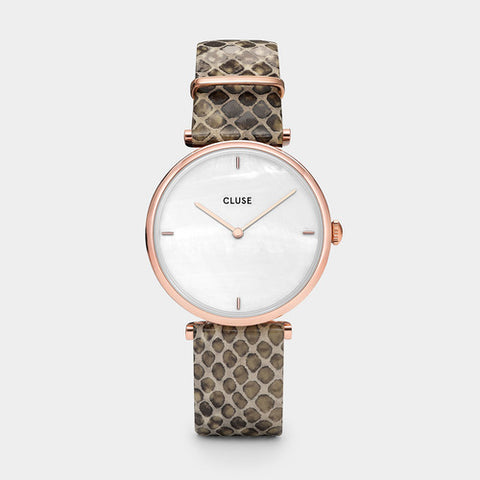 TRIOMPHE ROSE GOLD/WHITE PEARL/SOFT ALMOND PYTHON WATCH