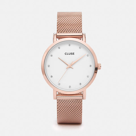 CLUSE PAVANE ROSE GOLD STONES MESH WATCH