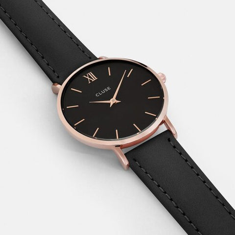 MINUIT ROSE GOLD/BLACK/BLACK LEATHER STRAP