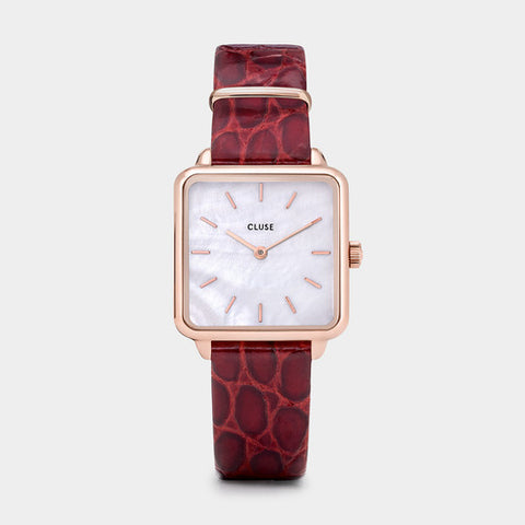 LA TETRAGONE WOMEN'S DARK RED ALLIGATOR LEATHER/ROSE GOLD STAINLESS