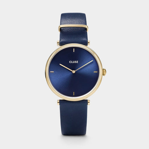 TRIOMPHE GOLD BLUE/BLUE LEATHER STRAP