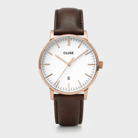 ARAVIS MEN'S ROSE GOLD/WHITE/DARK BROWN LEATHER STRAP