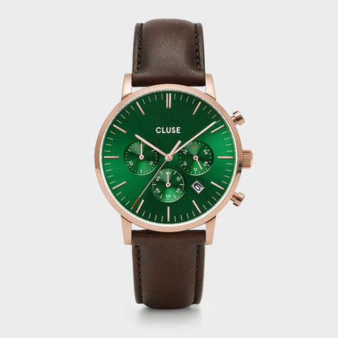 ARAVIS MEN'S CHRONOGRAPH ROSE GOLD/GREEN/DARK BROWN LEATHER STRAP