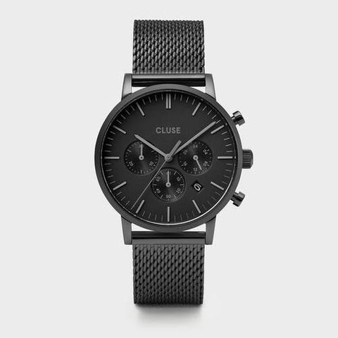 ARAVIS MEN'S CHRONOGRAPH FULL BLACK MESH WATCH
