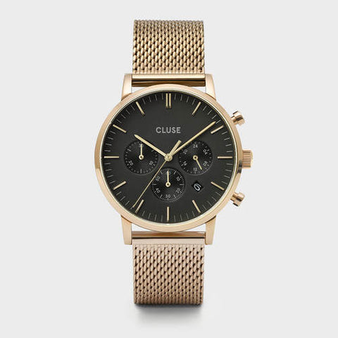 ARAVIS MEN'S CHRONOGRAPH GOLD/BLACK/GOLD MESH