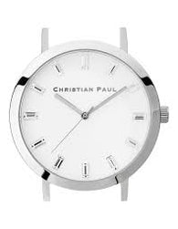CHRISTIAN PAUL 35MM LUXE WHITE DIAL & SILVER CASE - LUX-WHI-SIL-35MM