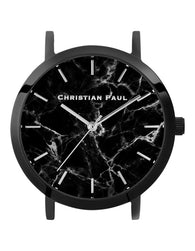 CHRISTIAN PAUL 35MM BLACK MARBLE DIAL & BLACK CASE - MAR-BLK-BLK-35MM