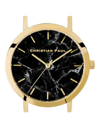 CHRISTIAN PAUL 35MM BLACK MARBLE DIAL & GOLD CASE - MAR-BLK-GLD-35MM