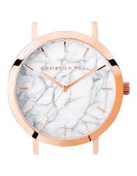 CHRISTIAN PAUL 35MM WHITE MARBLE DIAL & ROSE GOLD CASE - MAR-WHI-RG-35MM