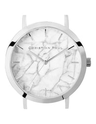 CHRISTIAN PAUL 35MM WHITE MARBLE DIAL & SILVER CASE - MAR-WHI-SIL-35MM