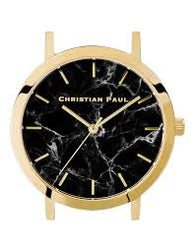 CHRISTIAN PAUL 43MM BLACK MARBLE DIAL & GOLD CASE - MAR-BLK-GLD-43MM