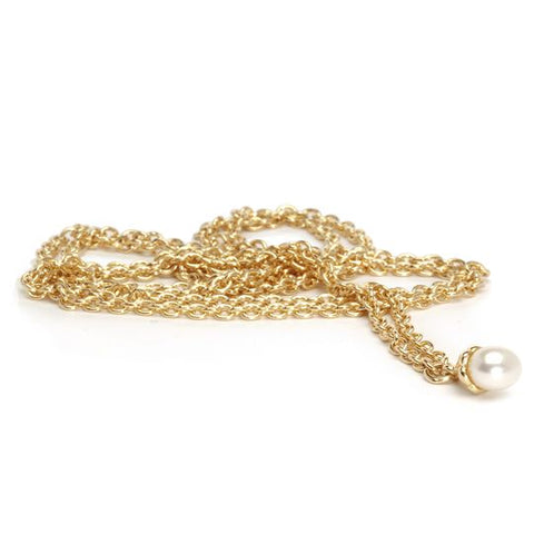 FANTASY NECKLACE, GOLD WITH WHITE PEARL