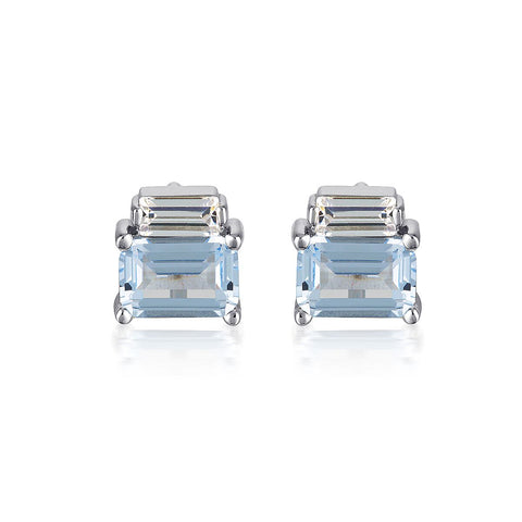 EMILIO AQUAMARINE DOUBLE BAGUETTE EARRINGS