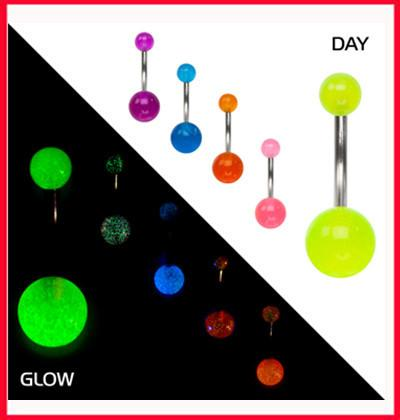 1 x Fluro Yellow Acrylic Glow in the Dark UV Heat Surgical Steel Belly Bar Navel Ring
