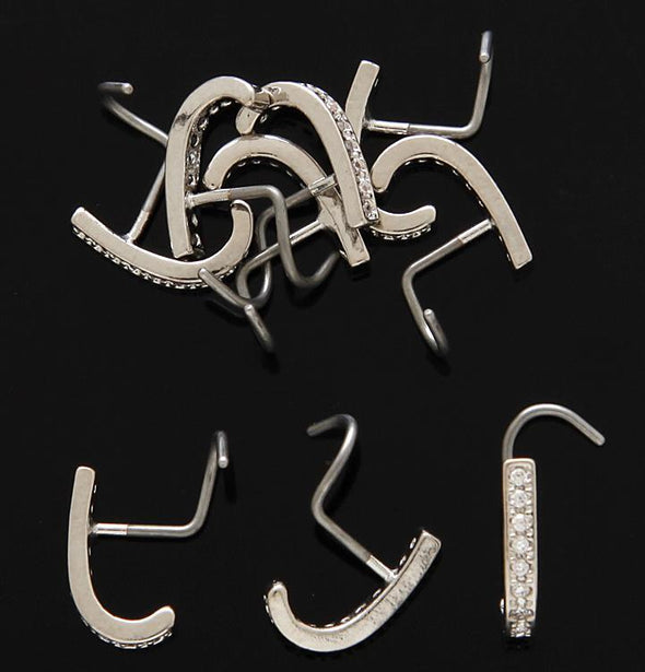 J- CURVE PRONG SET CLEAR C.Z. NOSE SCREWS.TOP QUALITY 316L SURGICAL STEEL 20G - Pierced n Proud