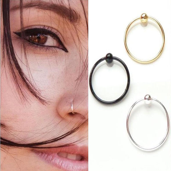 6mm Black 925 Sterling Silver Nose RIng with Ball No.1 Best Sellers - Pierced n Proud