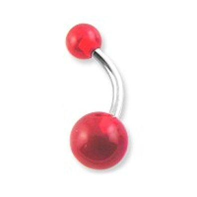1 x Red Acrylic Glow in the Dark UV Heat Surgical Steel Belly Bar Navel Ring