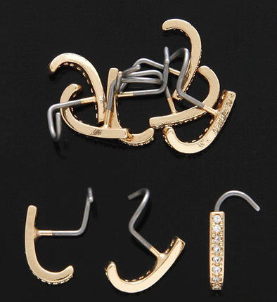 14K GOLD PLATED J-CURVE PRONG SET CLEAR C.Z. NOSE SCREWS 20G - Pierced n Proud