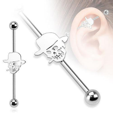 37mm Smoking Skull Hat 316L Surgical Steel Industrial Barbell - Pierced n Proud