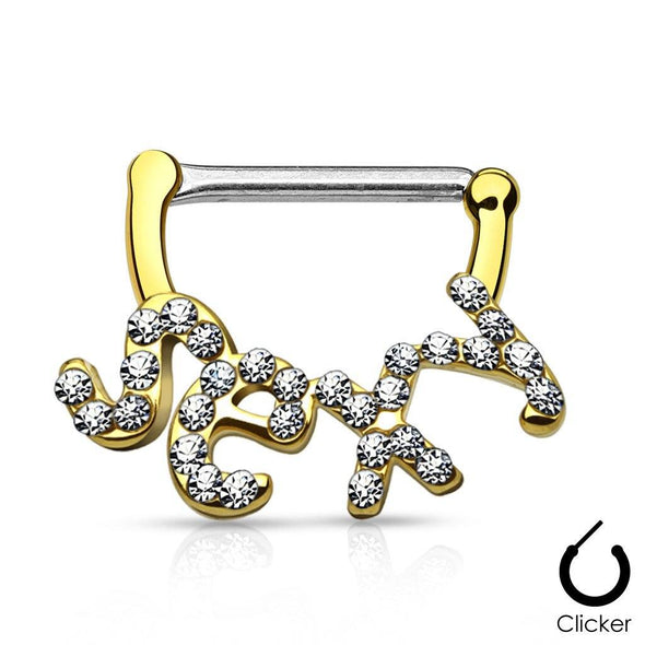 "Crystal Paved ""Sexy"" 316L Surgical Steel Nipple Clicker Bars - Pierced n Proud"