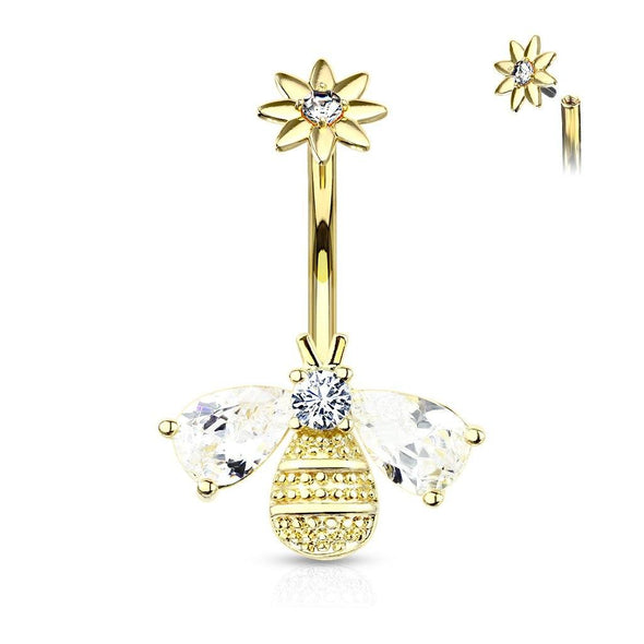 Gold Plated Bee with CZ Wings and Face with Internally Threaded CZ Center Flower Top 316L Surgical Steel Belly Button Navel Rings - Pierced n Proud