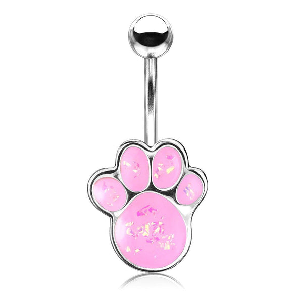 Pink Opal Glitter Filled Puppy Paw 316L Surgical Steel Belly Button Navel Rings - Pierced n Proud