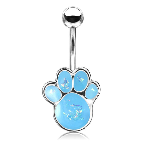 Aqua Opal Glitter Filled Puppy Paw 316L Surgical Steel Belly Button Navel Rings - Pierced n Proud