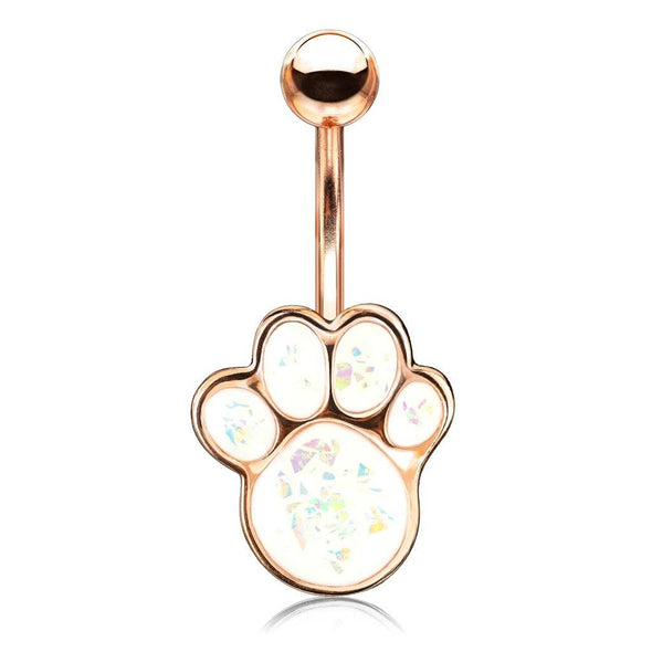 Rose Gold with White Opal Glitter Filled Puppy Paw 316L Surgical Steel Belly Button Navel Rings - Pierced n Proud