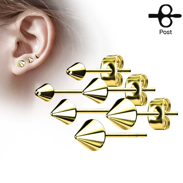 Gold Plated Pair of Cone Spike Stainless Steel Earring Studs 3mm 4mm 5mm - Pierced n Proud