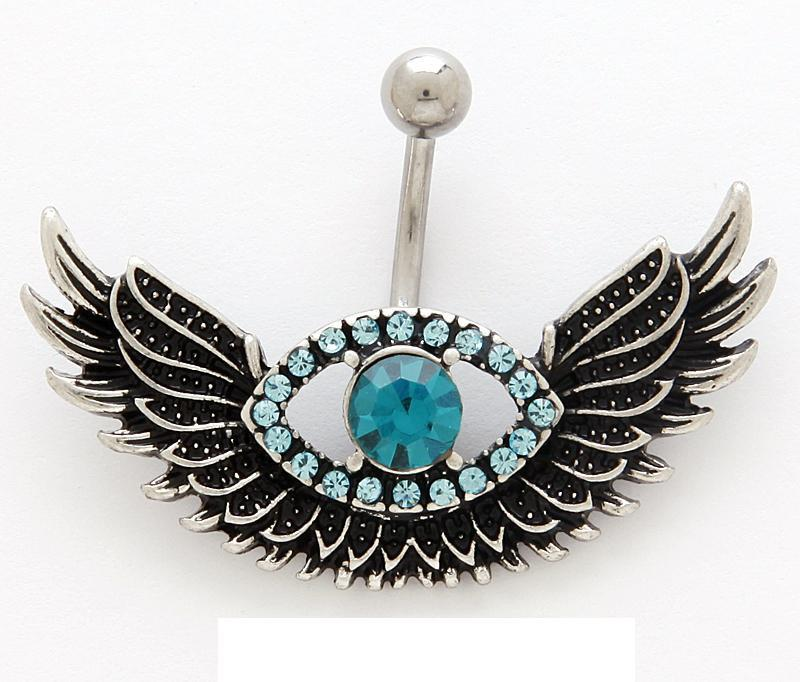 Gorgeous Evil Eye with Falcon Wings Aqua Gem with Light Blue Gems Surrounding 14g Belly Bar