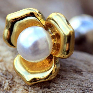 Yellow gold plated flower with a White synthetic pearl in the center - Pierced n Proud